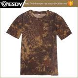 Camiseta redonda del cuello del camuflaje de secado rápido respirable táctico de la caza