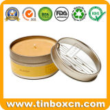 runder Kerze-Zinn-Kasten des Metall2oz mit goldenem Glanz-Lack