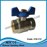 Valvola a sfera fissa d'ottone del filetto per uso di acqua (V18-111)