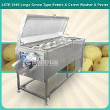 Lavado vegetal de rosca automático grande industrial del rábano del melón de la zanahoria y peladora