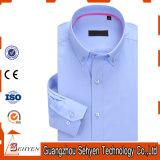 camicia di vestito convenzionale sottile dal manicotto lungo blu 100%Cotton per gli uomini
