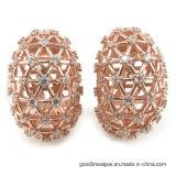 새로운 디자인 둥근 가득 차있는 모조 다이아몬드 귀 장식 못 큰 귀걸이 (E6321)