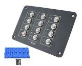 5A, 10A, 20A de 12 vías de AC/DC, pulse el botón Restablecer Panel de aluminio de los disyuntores