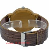 Relógio de madeira de quartzo elegante com cinta de couro Fs520