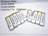 3.7V, 1500mAh, 702080 Ion van het Lithium van het Polymeer Plib/Li-Ion Batterij voor GPS, MP3, MP4, MP5, DVD, Bluetooth, ModelStuk speelgoed Mobiele Bluetooth