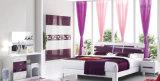 Moderna cama de madera de madera Diseño de muebles de dormitorio