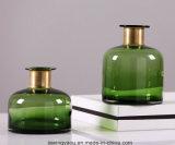 Florero de cristal con la hebilla de oro para la decoración casera (verde)