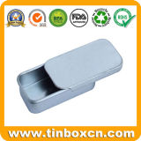 Recipiente deslizante de metal retangular com categoria alimentar, caixa de lata deslizante