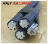 Quadruplex Service-Absinken-Aluminiumleiter-zusammengerolltes Luftkabel