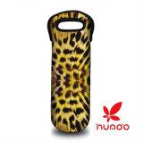 Bolso de totalizador completado neopreno de la bebida de la botella de vino de la impresión del leopardo que lleva