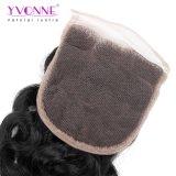 I capelli umani 4X4 del Virgin brasiliano riccio italiano liberano il colore naturale della chiusura del merletto della parte