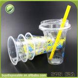 Cuvettes remplaçables biodégradables faites sur commande bon marché du plastique pp avec des couvercles et des pailles