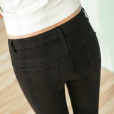 Factory OEM Lady Blue Jeans Denim Fashion Cotton Jeans