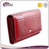Cartera de piel de cocodrilo en relieve de las mujeres de Fani, monedero rojo Cuero genuino