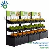 Supermarkt-Regale verwendet für Bildschirmanzeige-Obst und Gemüse