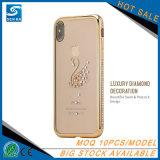 Cas de vente chaud de Madame Rhinestone Electroplate TPU Phone pour l'iPhone X
