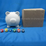 Pintar Conjunto del cerdo del banco de moneda, Niño pintura en cerámica animal de DIY