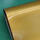 Синтетическая лакированная кожа PU зерна Litchi для ботинка мешка