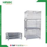 Envase amontonable de acero de la jaula de la paleta del acoplamiento de alambre de la jaula del almacenaje