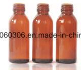 bernsteinfarbige Glasflasche des sirup-100ml mit Aluminium-Schutzkappe des Schrauben-Ende-28mm