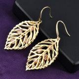 Оптовые цены в форме листьев Earring Dangle Crystal Gold