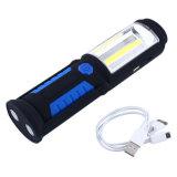 Avec un crochet tournant à 360 degrés Torche de camping d'urgence rechargeable Magnétique 3W COB Work Light