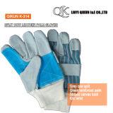 K-309 de grijze Handschoenen van de Veiligheid van het Leer van het Manchet van de Palm van de Koe Gespleten Volledige Voering Met rubber bekleede Werkende