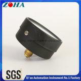 2.5 بوصة أسود فولاذ حالة يساعد مقياس ضغط عاميّة مع 1/4 نحاس أصفر وصلة [0.6مبا] قاعدة