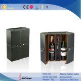 2 زجاجة سوداء عادة جلد خشبيّة خمر صندوق ([2375ر1])