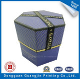 Polygonal feito-à-medida Shape Paper Gift Box com Ribbon e Golden Edge