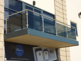 Glass esterno Railing con Stainless Steel Post Design