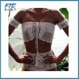 Выключение Плечо женщины трикотажные горячей линии бикини Высокая поясная спицы купальный костюм
