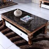引出しが付いている贅沢で黒い大理石のローズの金ステンレス鋼のコーヒーテーブル