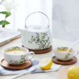 Piatto fondo semplice di legno semplice del caffè di Tamily della tazza di tè dell'ammortizzatore di tè del vestito di ceramica dell'insieme