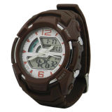 ABS Case Rubber Band Swiss Movement impermeável Brown Decor Watch
