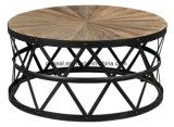 Mesa de centro redonda da parte superior da madeira de metal do projeto chinês da tabela de chá baixa
