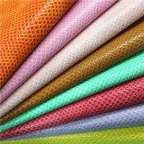 履物のための新しい到着の流行のヘビの穀物PUの総合的な革