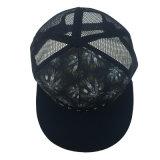 Sombrero negro de encargo del casquillo del camionero de la impresión del acoplamiento del poliester