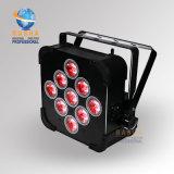 Certificado RoHS 9*10W 4en1 RGBW/DMX RGBA inalámbricos que funcionan con batería plana LED PAR Proyector de luz