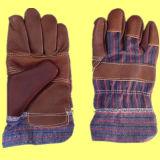 Темный Brown залатал работу Glove-4001 кожи мебели задней части хлопка нашивки ладони