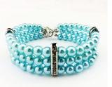 Collar del animal doméstico de la perla nuevo diseño de tres filas