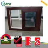 Finestra di scivolamento di vetratura doppia del PVC con colore di legno