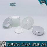 choc crème cosmétique en verre givré de 2oz 60g avec le chapeau argenté brillant en métal