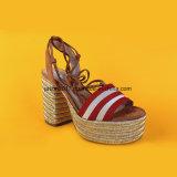 Последнюю версию мода женщин дамы открытым носком Lace Up высокого каблука Espadrilles сандалии