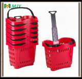 Panier à provisions en plastique de roulis de supermarché Mjy-Tr04