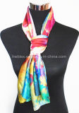 Lady′ Шарф типа s роскошным цветастым напечатанный Flourish Silk для розничного и оптового (HWBS016)