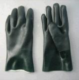 De dubbele Zijpvc Met een laag bedekte Handschoen met Koord breit voering-5130