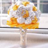 Fantástico Color personalizado de Flores Artificiales de Rhinestones Pearls Bouquet Boda
