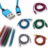 나일론 이동 전화 마이크로 USB 번개 비용을 부과 데이터 충전기 케이블