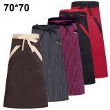 Aventais 100% coreanos do empregado de mesa do avental unisex do algodão com bolsos